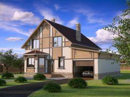 Проект мансардного дома с гаражом «КМ-34»