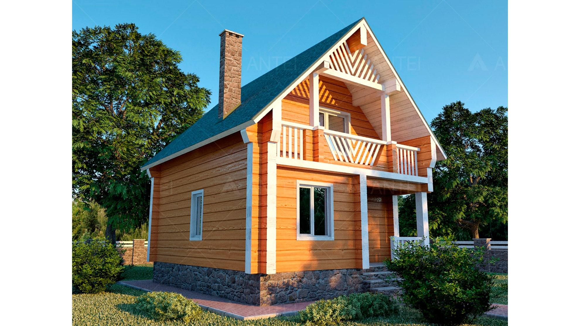 Проект мансардного дома с террасой и лоджией «КМ-36» - фото №1