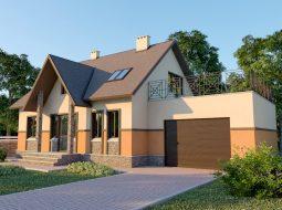 Проект мансардного дома с гаражом, террасой и балконом «КМ-37»