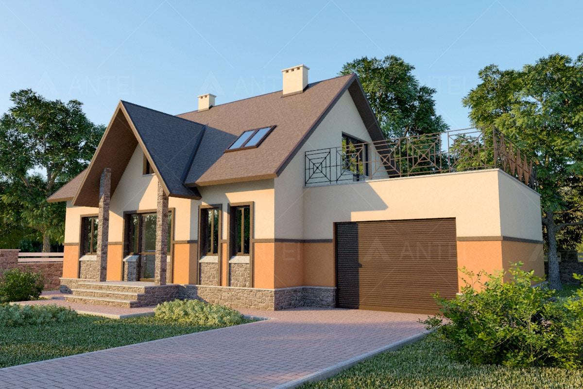 Проект мансардного дома с гаражом, террасой и балконом «КМ-37» -фото №1