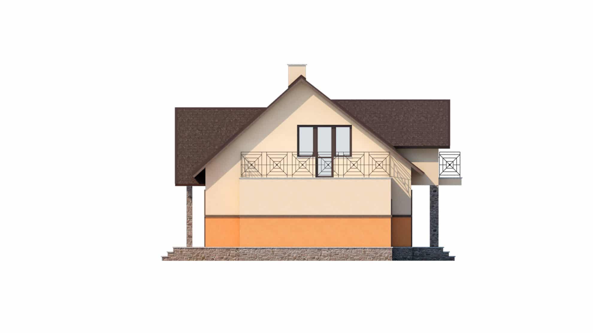 Фасад мансардного дома с гаражом, террасой и балконом «КМ-37» - справа