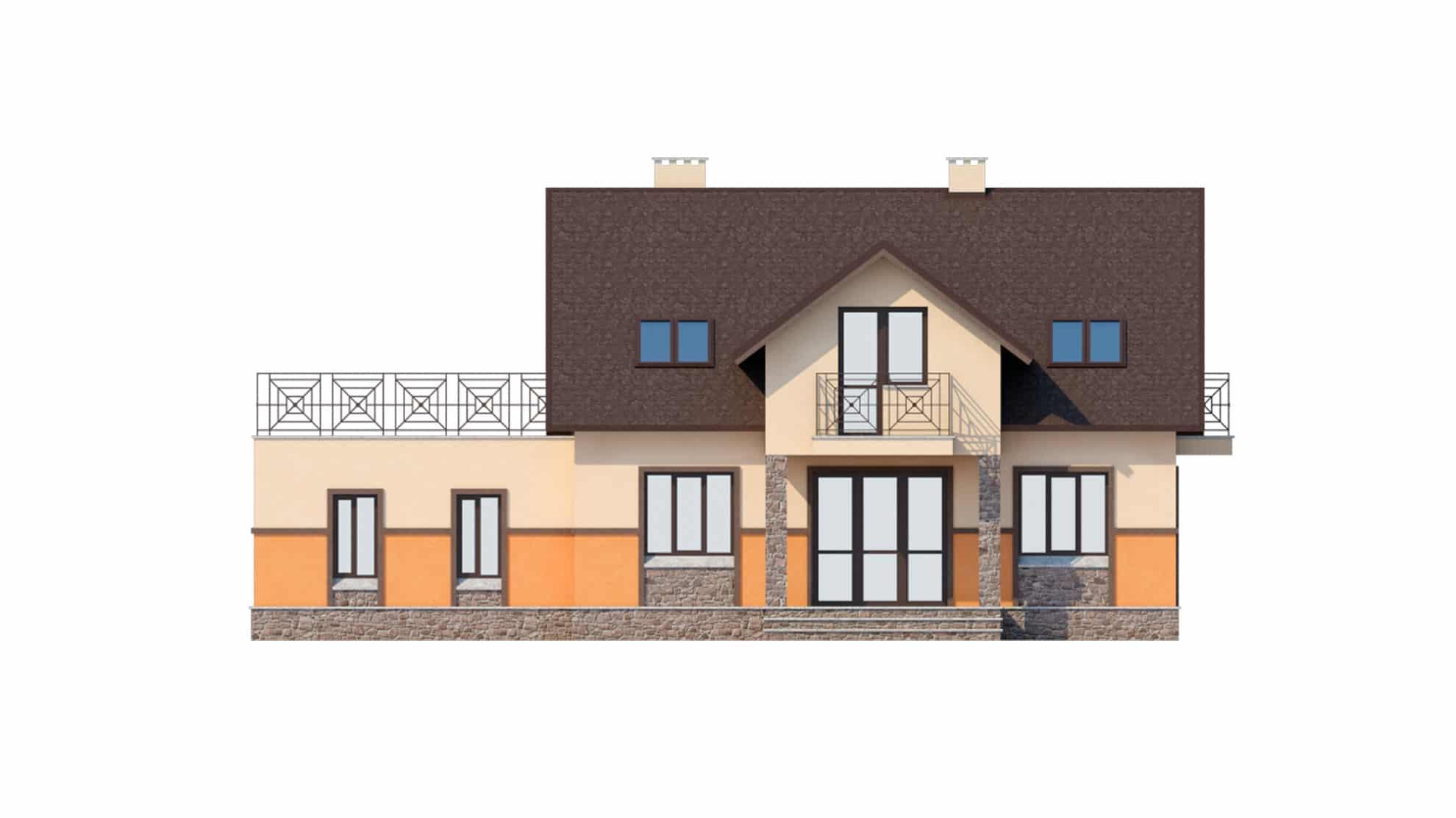 Фасад мансардного дома с гаражом, террасой и балконом «КМ-37» - сзади