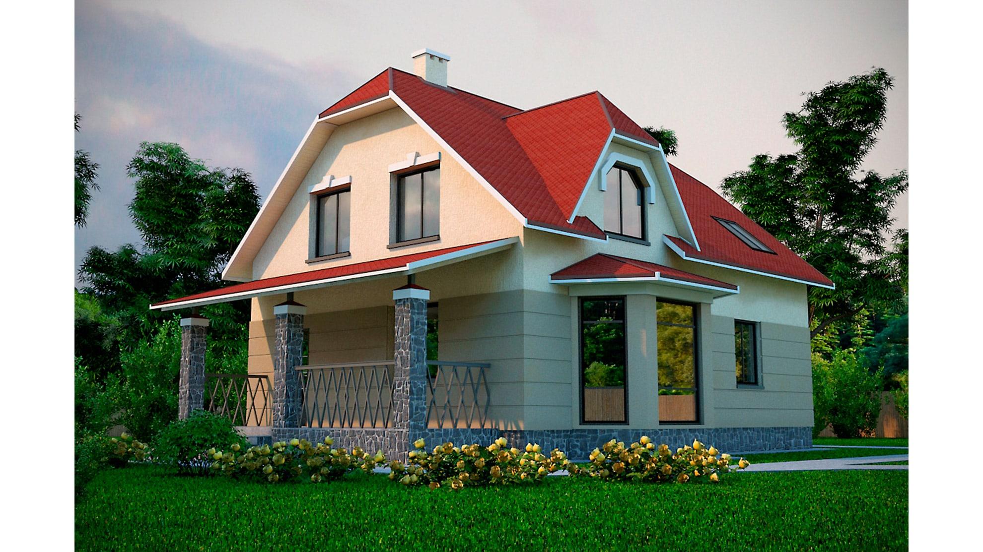 Проект мансардного дома с террасой «КМ-39» - фото №1