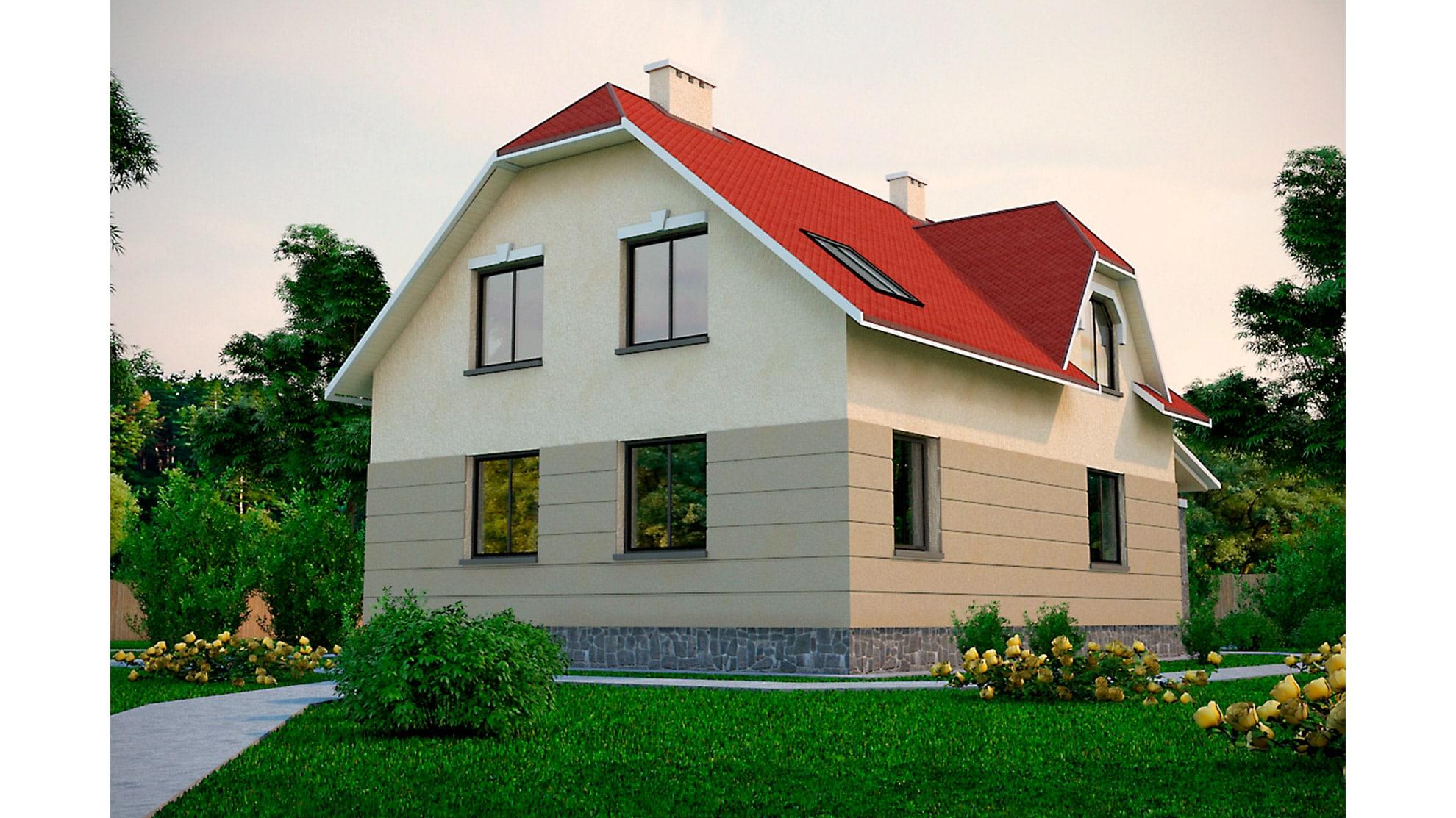 Проект мансардного дома с террасой «КМ-39» - фото №2