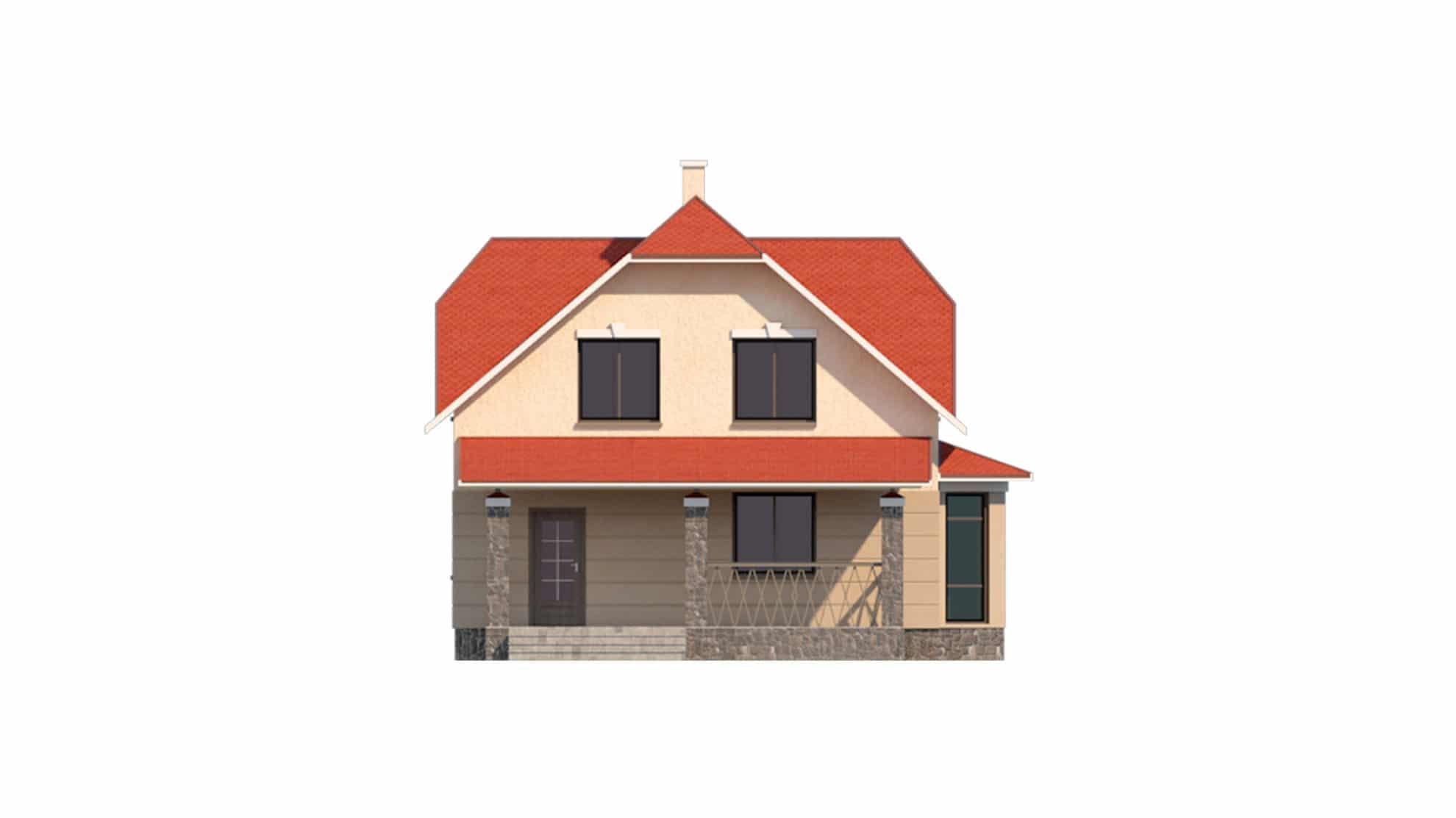 Фасад мансардного дома с террасой «КМ-39» - спереди
