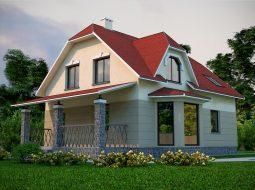 Проект мансардного дома с террасой «КМ-39»