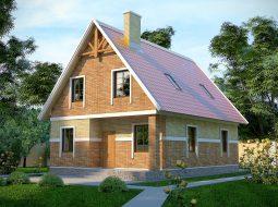 Проект мансардного дома с террасой и балконом «КМ-4»