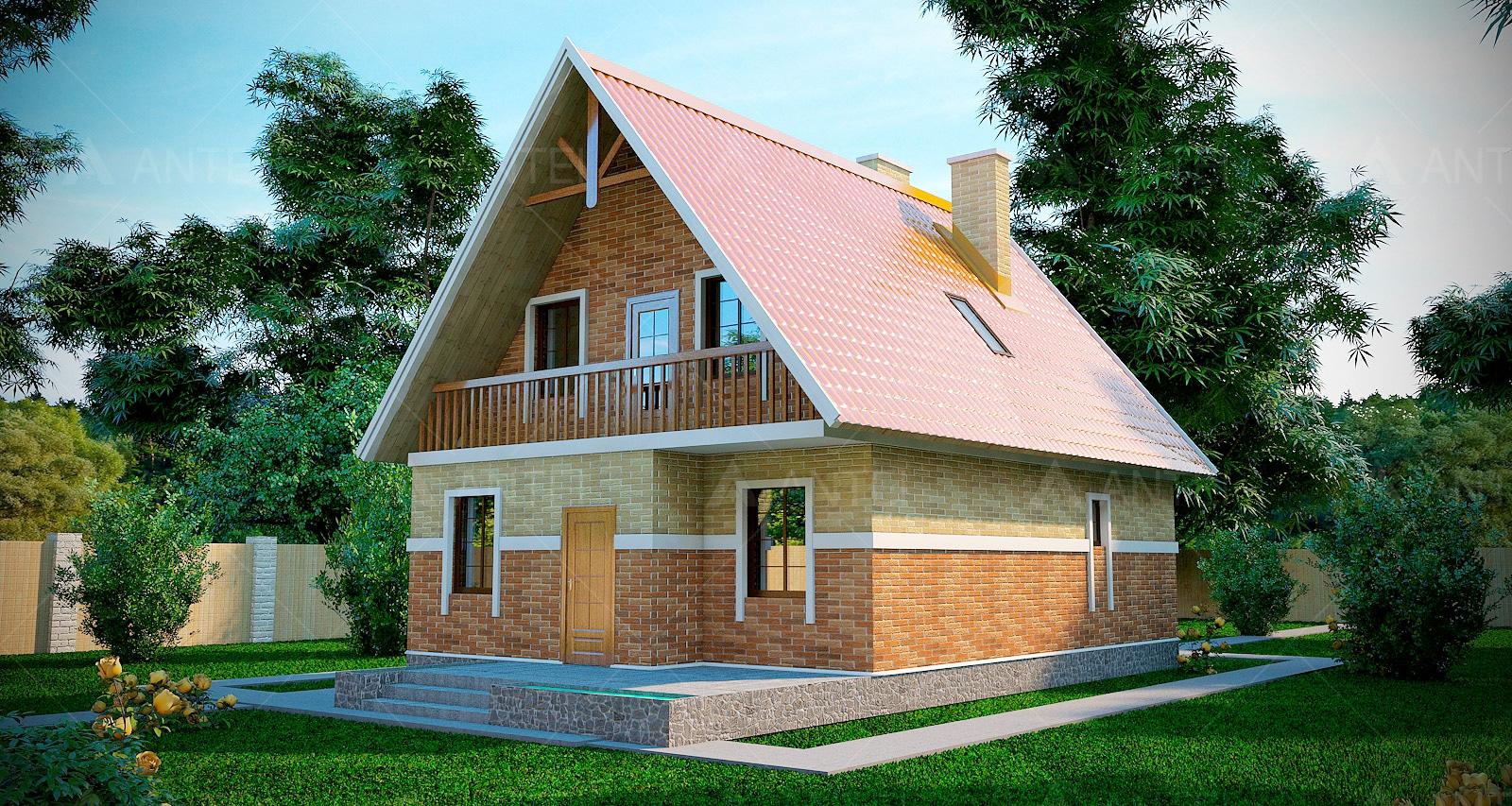 Проект мансардного дома с террасой и балконом «КМ-4» - фото №2