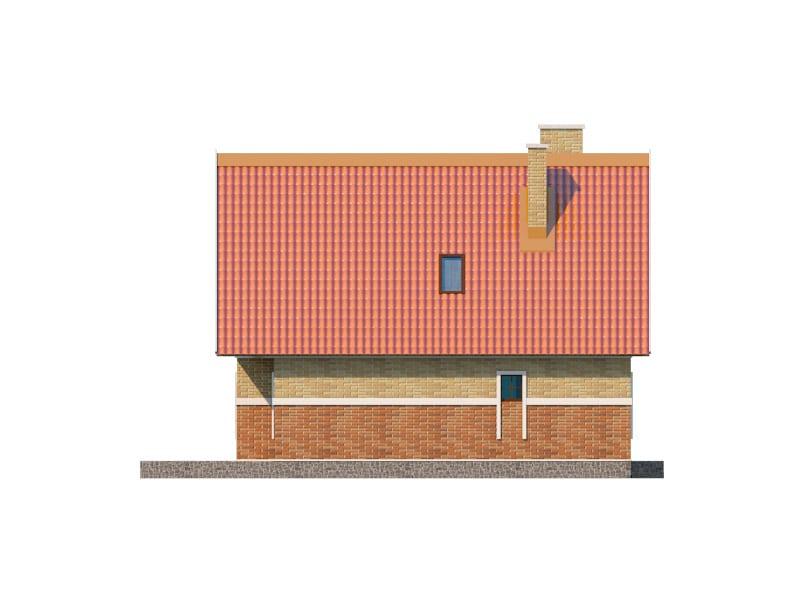 Фасад мансардного дома с террасой и балконом «КМ-4» - слева