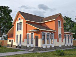 Проект мансардного дома с гаражом, подвалом, верандой «КМ-41»