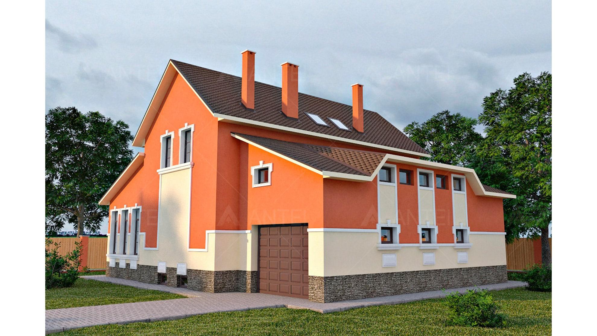 Проект мансардного дома с гаражом, подвалом, верандой «КМ-41» - фото №2