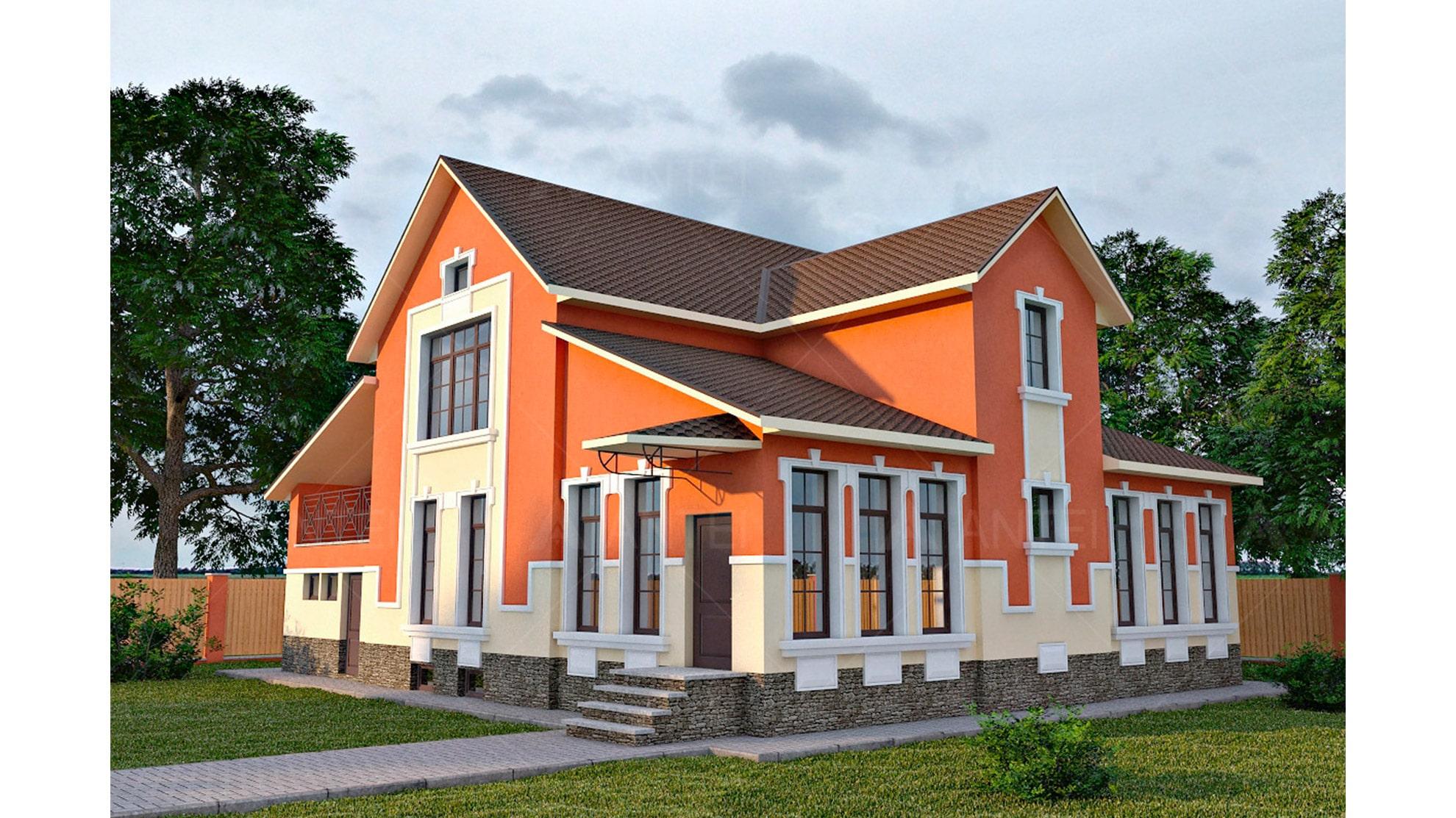 Проект мансардного дома с гаражом, подвалом, верандой «КМ-41» - фото №1