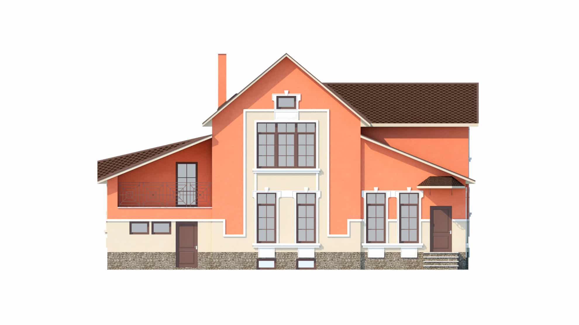 Фасад мансардного дома с гаражом, подвалом, верандой «КМ-41» спереди