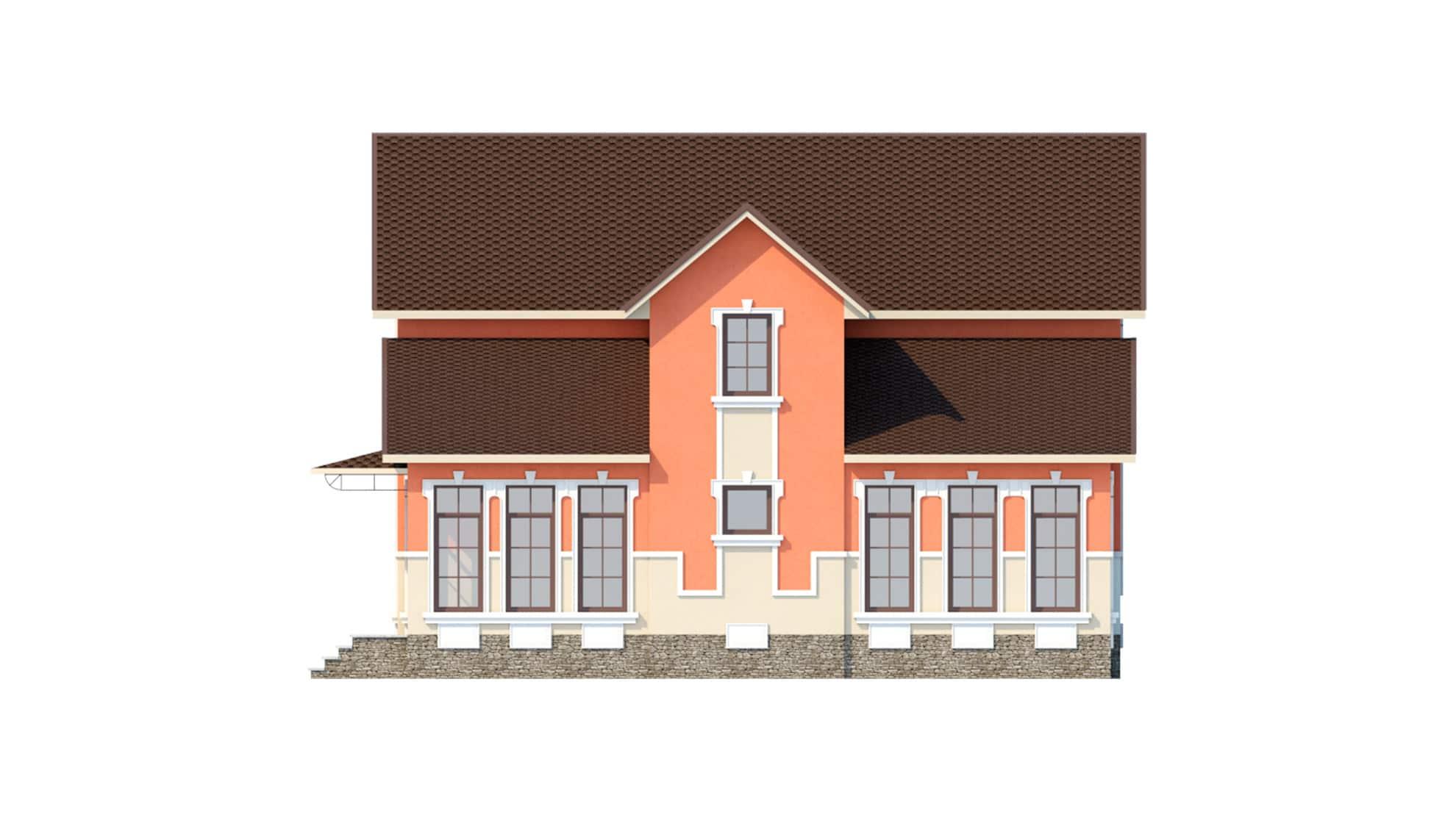 Фасад мансардного дома с гаражом, подвалом, верандой «КМ-41» справа
