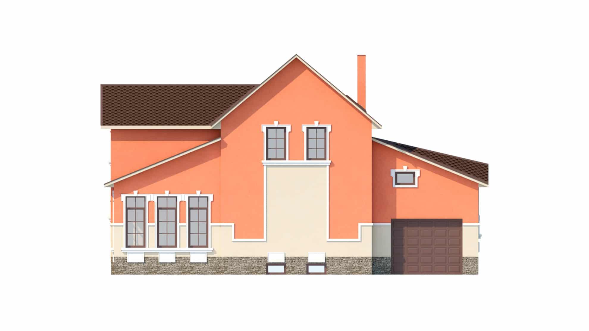 Фасад мансардного дома с гаражом, подвалом, верандой «КМ-41» сзади