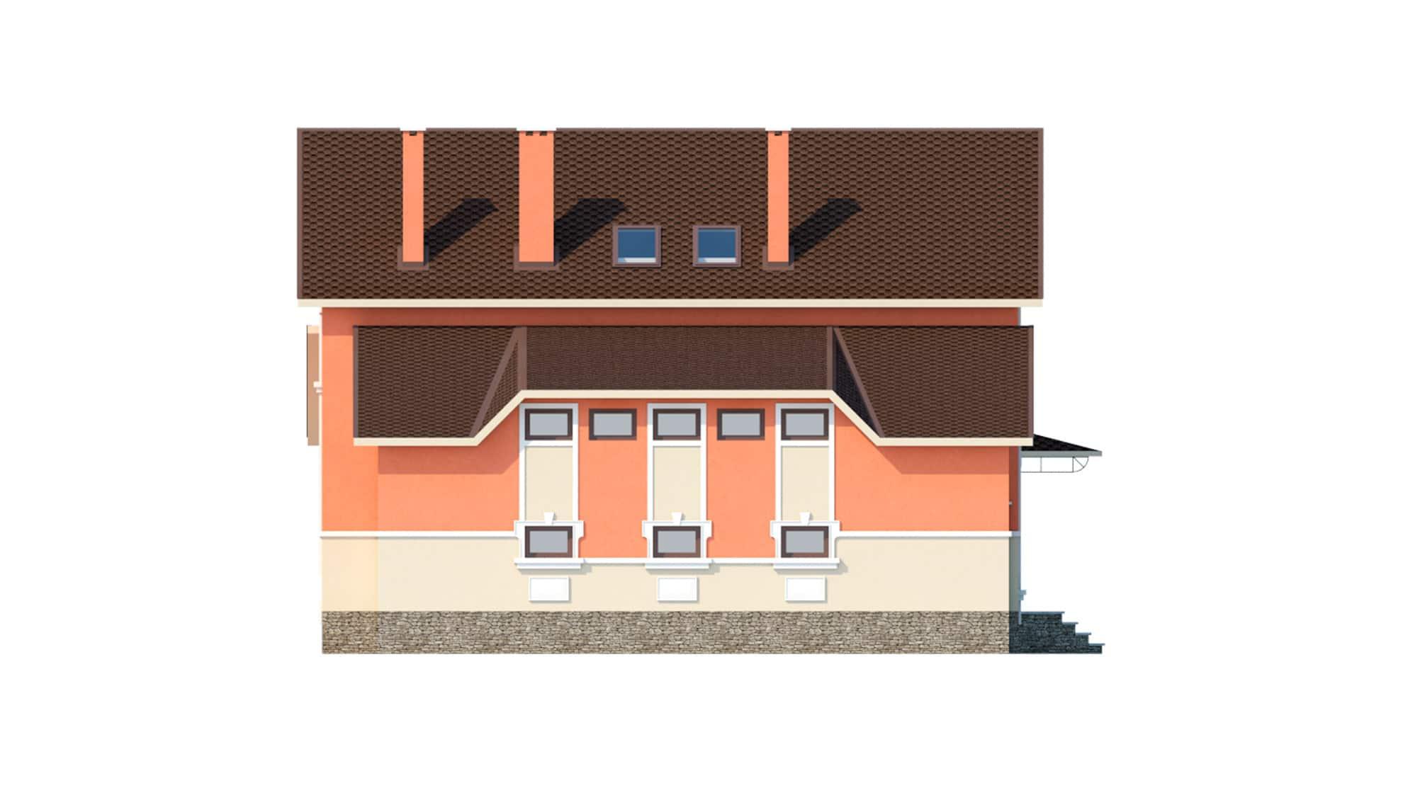 Фасад мансардного дома с гаражом, подвалом, верандой «КМ-41» слева