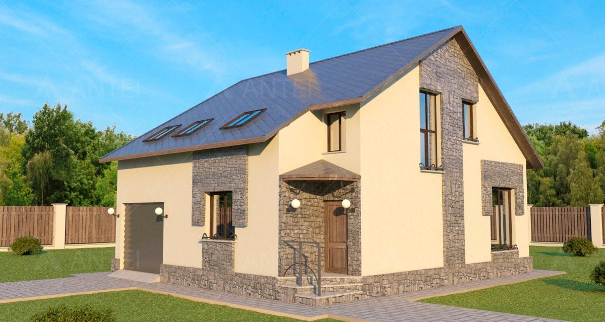 Проект мансардного дома с гаражом «КМ-44» - фото №1