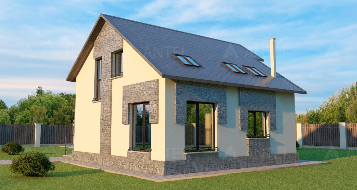 Проект мансардного дома с гаражом «КМ-44» - фото №2