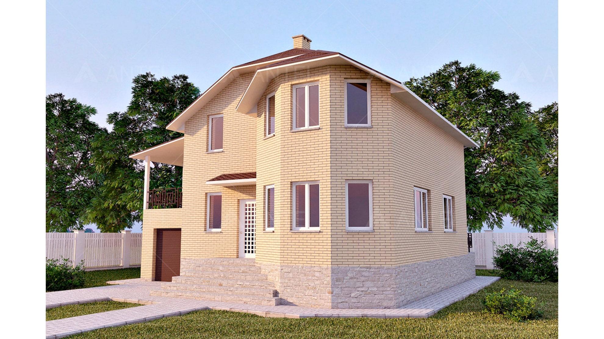 Проект мансардного дома с гаражом и цокольным этажом «КМ-45» - фото №1