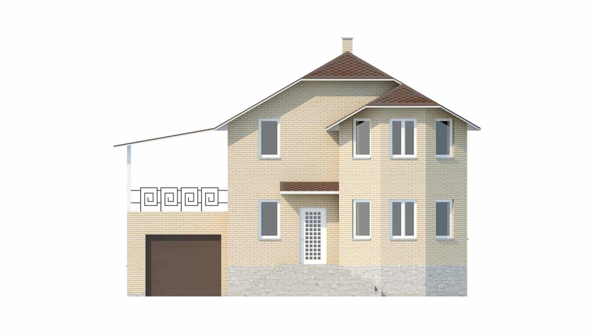 Фасад мансардного дома с гаражом и цокольным этажом «КМ-45» спереди