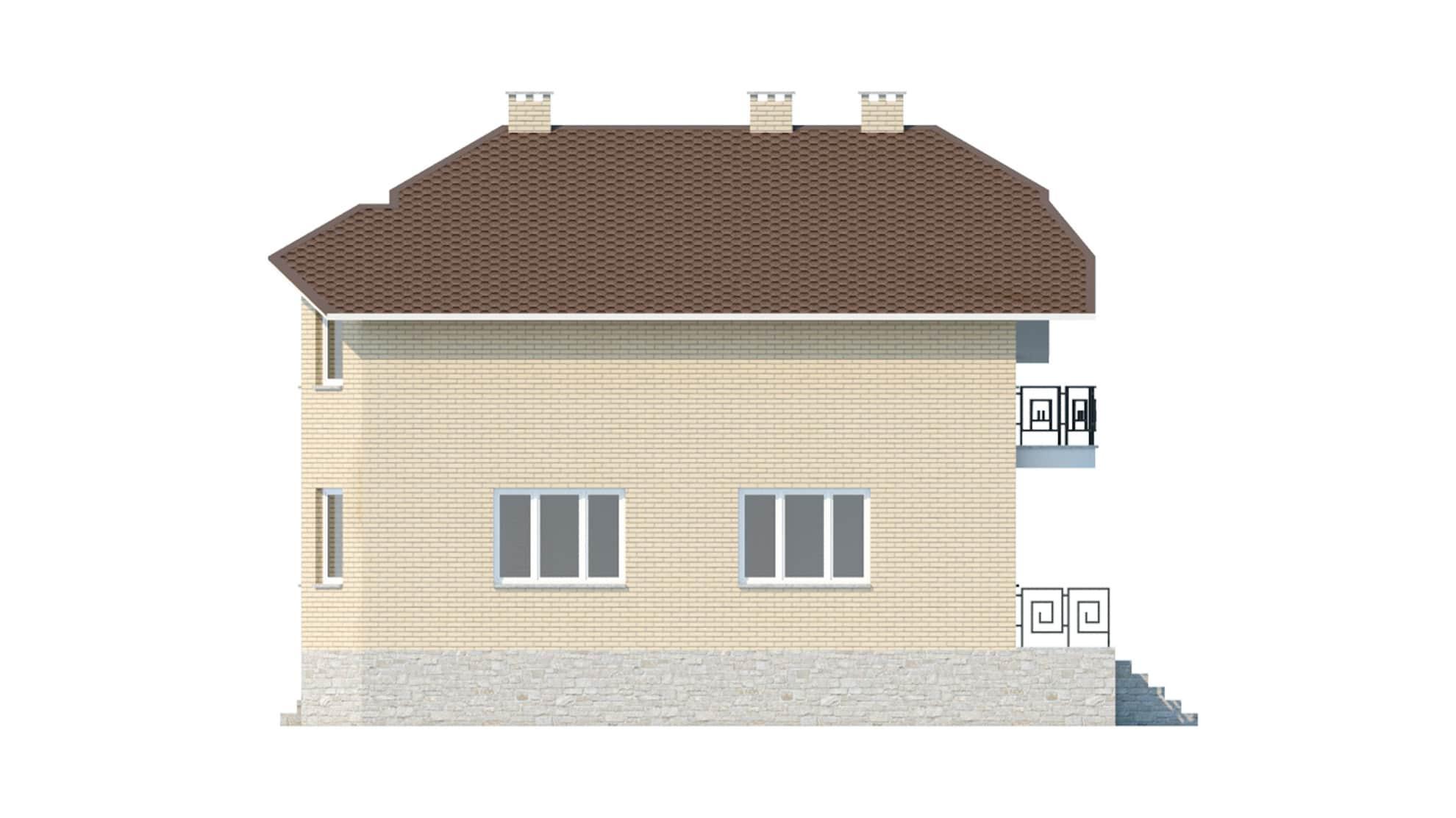 Фасад мансардного дома с гаражом и цокольным этажом «КМ-45» справа