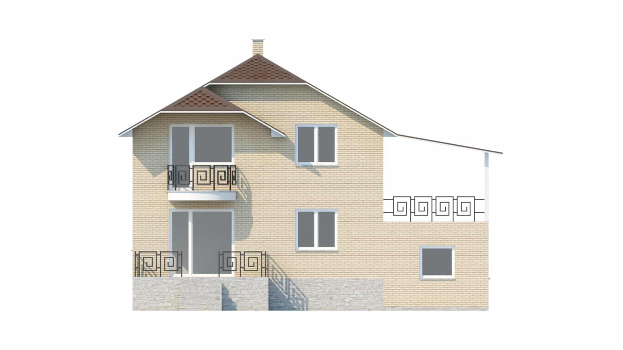 Фасад мансардного дома с гаражом и цокольным этажом «КМ-45» сзади