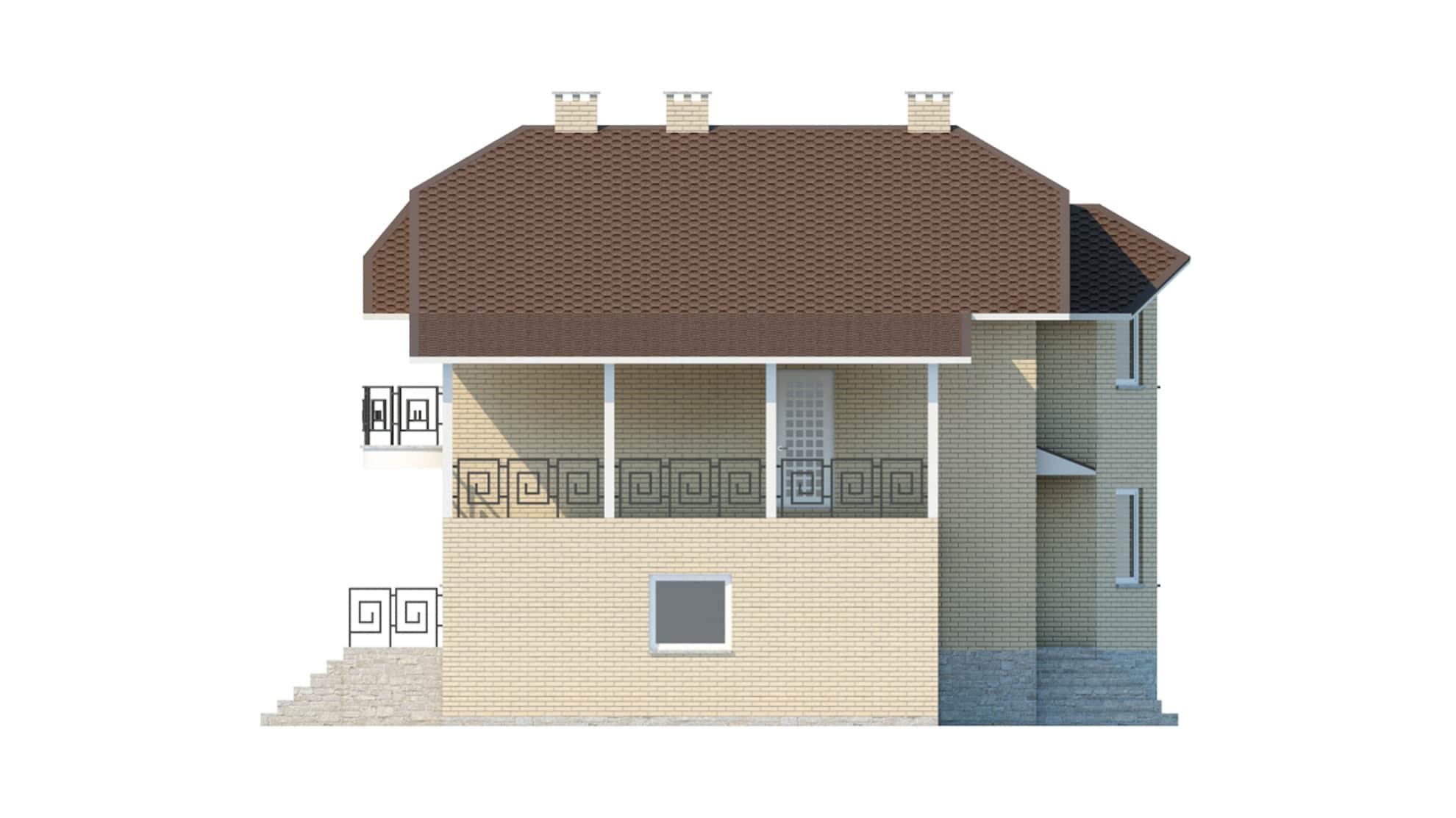 Фасад мансардного дома с гаражом и цокольным этажом «КМ-45» слева