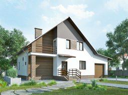 Проект мансардного дома с гаражом и балконом «КМ-46»
