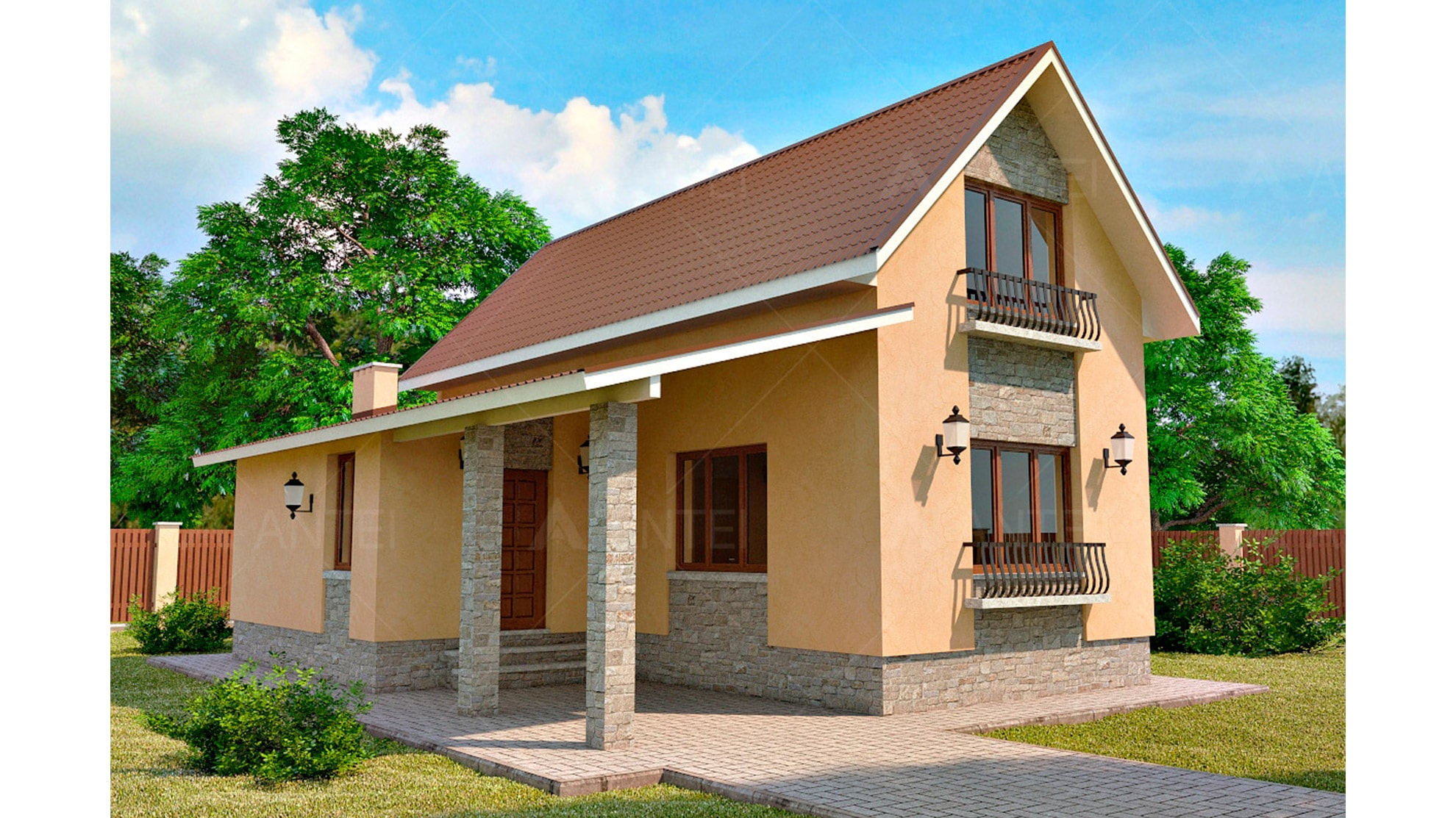 Проект мансардного дома «КМ-47» - фото №1