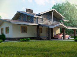 Проект мансардного дома с террасой, балконом и навесом «КМ-49»