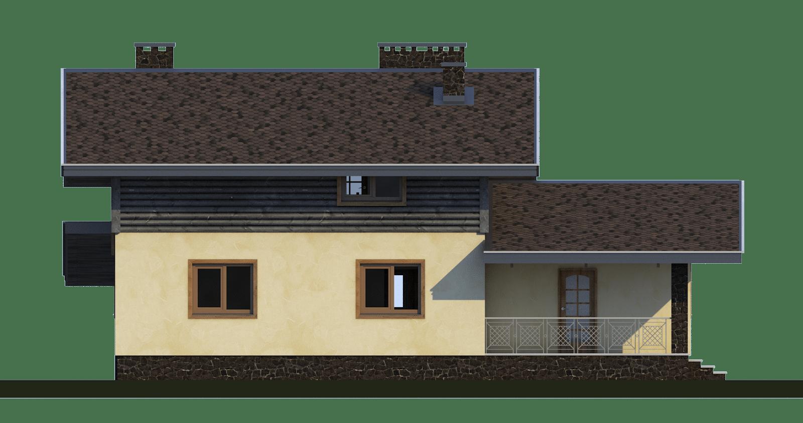 Фасад мансардного дома с террасой, балконом и навесом «КМ-49» -спереди