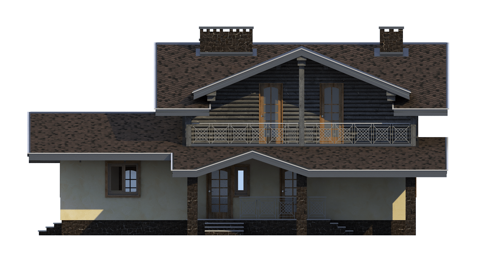 Фасад мансардного дома с террасой, балконом и навесом «КМ-49» -сзади