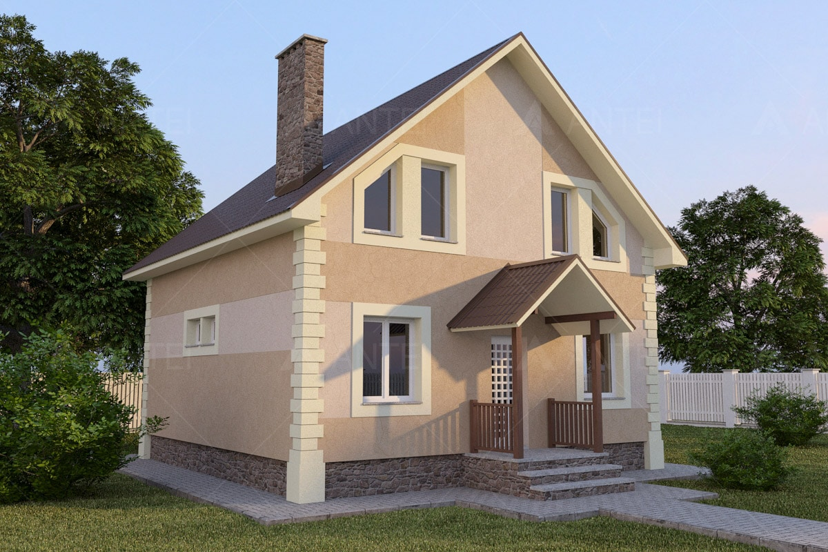 Проект мансардного дома с балконом «КМ-51» - фото №1