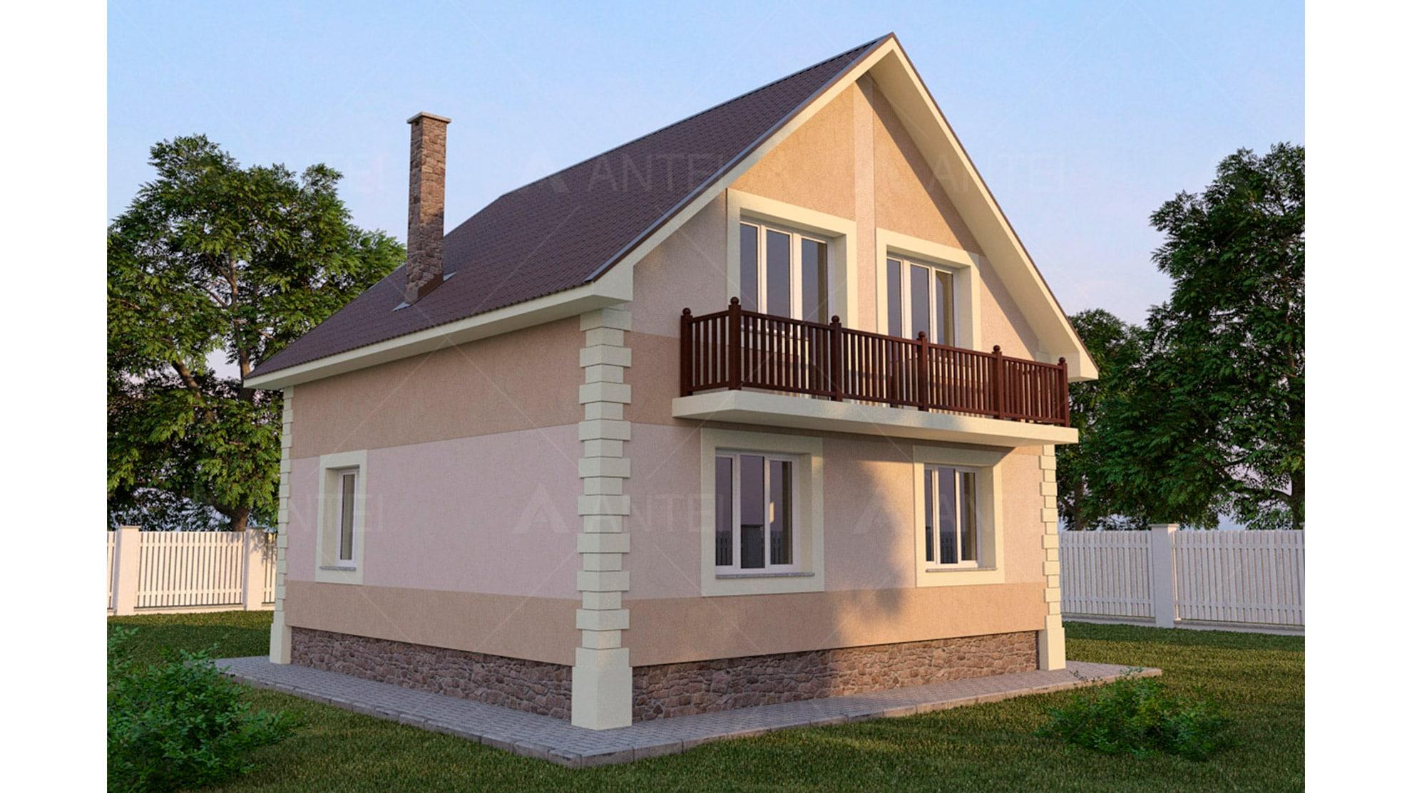 Проект мансардного дома с балконом «КМ-51» - фото №2