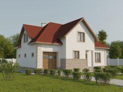 Проект мансардного дома с гаражом «КМ-52»