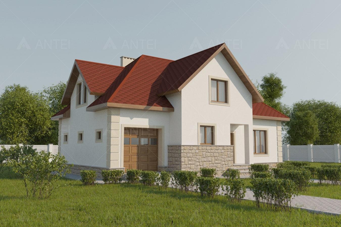 Проект мансардного дома с гаражом «КМ-52» - фото №2