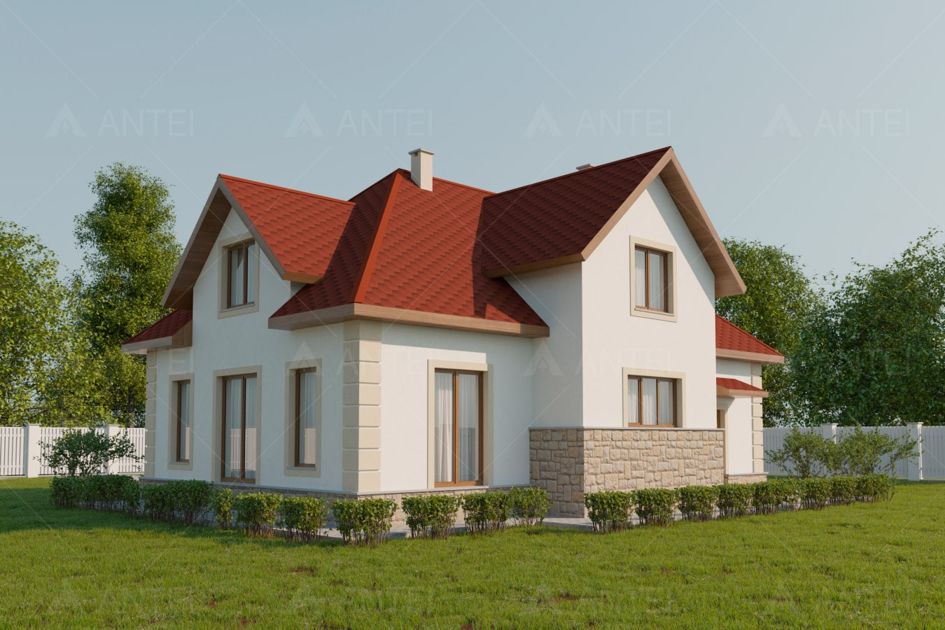 Проект мансардного дома с гаражом «КМ-52» - фото №1