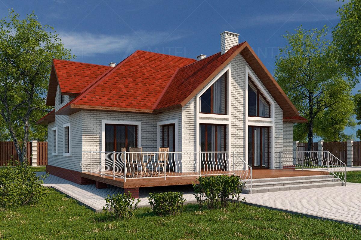 Проект мансардного дома с гаражом и террасой «КМ-53» - фото №2