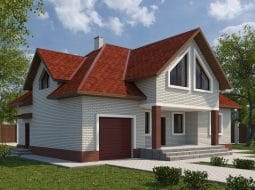 Проект мансардного дома с гаражом и террасой «КМ-53»