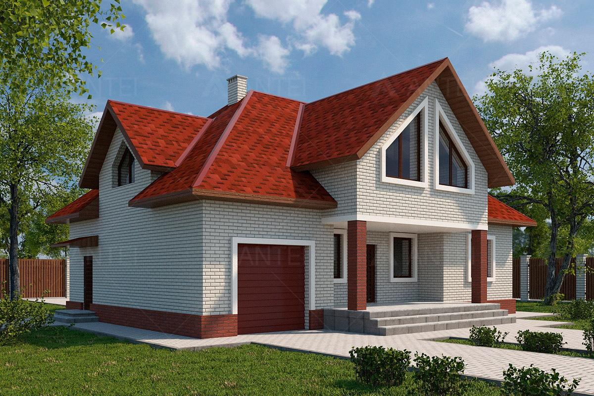 Проект мансардного дома с гаражом и террасой «КМ-53» - фото №1
