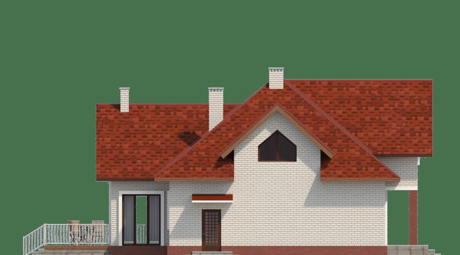 Фасад мансардного дома с гаражом и террасой «КМ-53» - слева