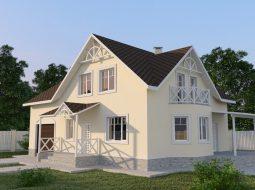 Проект мансардного дома с гаражом, террасой и балконом «КМ-56»