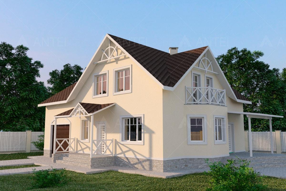 Проект мансардного дома с гаражом, террасой и балконом «КМ-56» - фото №1