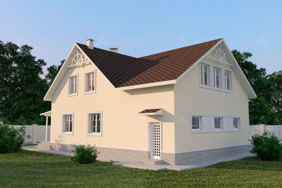 Проект мансардного дома с гаражом, террасой и балконом «КМ-56» - фото №2