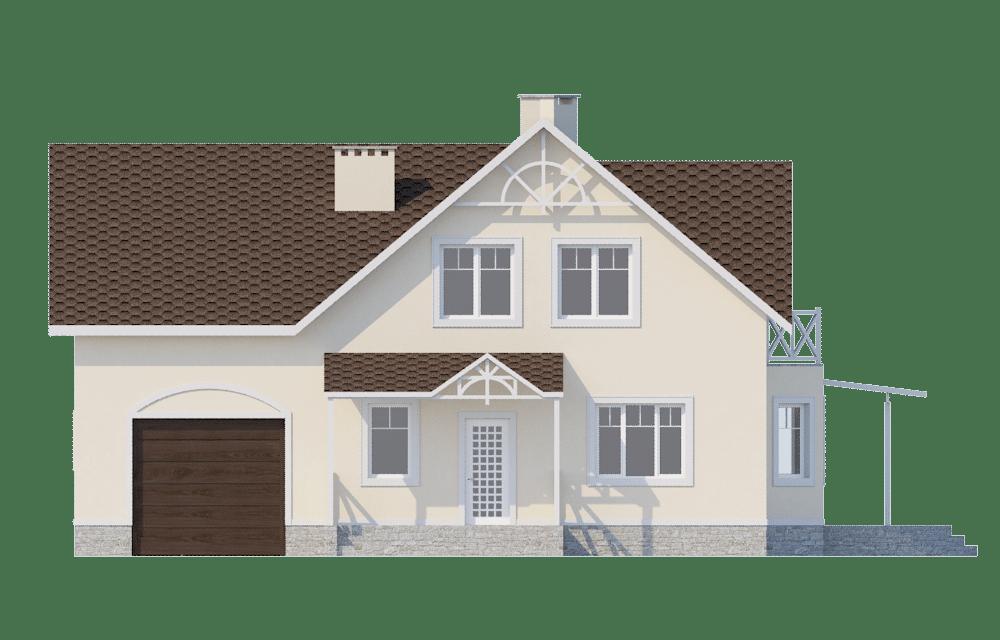 Фасад мансардного дома с гаражом, террасой и балконом «КМ-56» - спереди