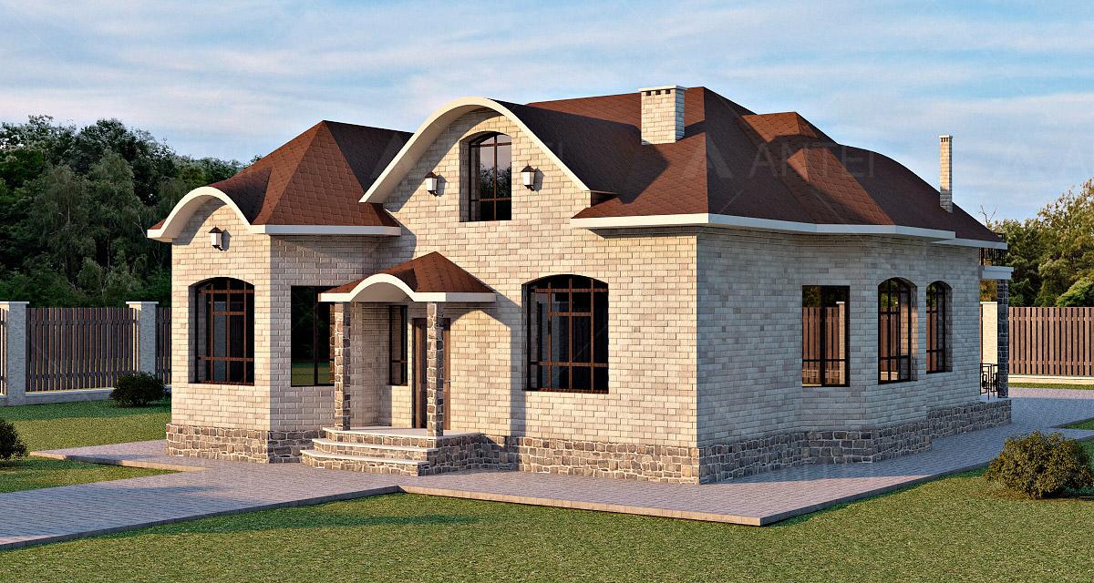 Проект мансардного дома с террасой «КМ-57» - фото №1