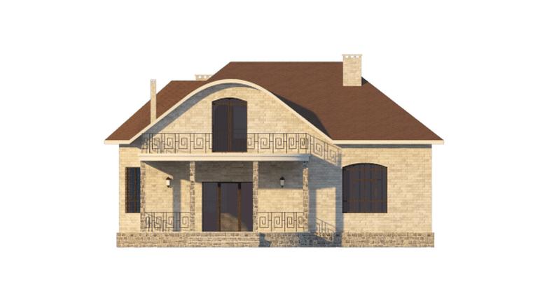 Фасад мансардного дома с террасой «КМ-57» сзади