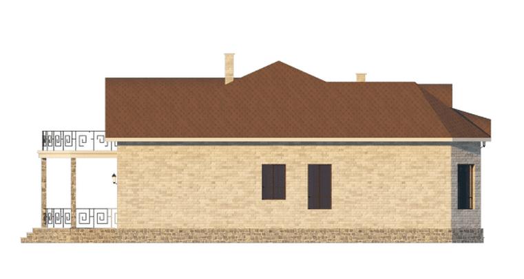 Фасад мансардного дома с террасой «КМ-57» справа