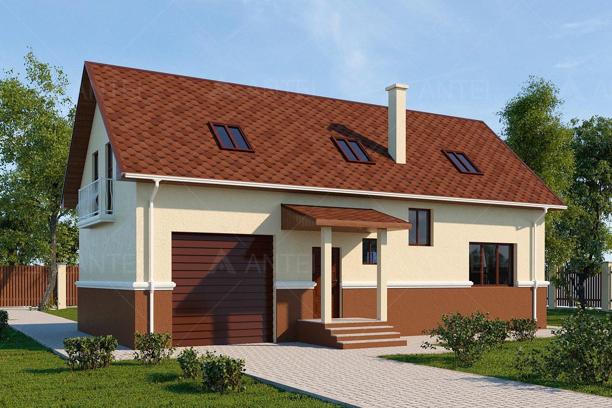 Проект мансардного дома с гаражом, террасой и балконом «КМ-58» - фото №2