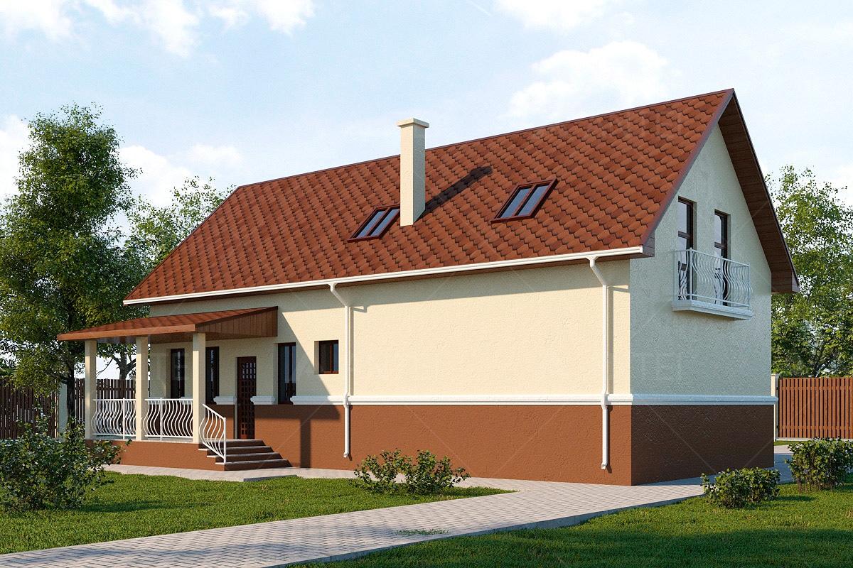 Проект мансардного дома с гаражом, террасой и балконом «КМ-58» - фото №1